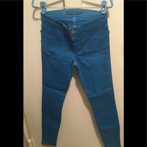 J Brand Coated Blue Bonnet Skinny Pants Size 24
